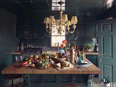 Dark Green Galley Kitchen