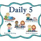 "These are Daily 5 center rotation cards with an additional ""Meet With the Teacher"" icon. Multiple classroom themes available."