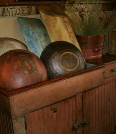 Neat old painted wooden bowls