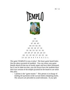"""FREE, Gratis """"Templo"""" game for your Spanish students!  from LaProfesoraFrida"""