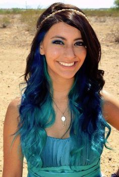 Brown and blue hair.. I would totally get blue streaks :)