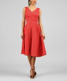 Look at this #zulilyfind! Red Polka Dot A-Line Dress #zulilyfinds