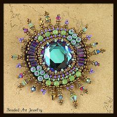 Beaded brooch by Susan Pierle by Beaded Art Jewelry, via Flickr