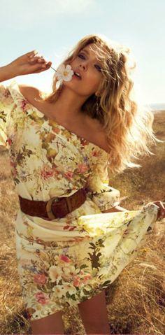 Yellow flowery flowy summer dress