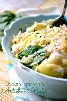 Light Chicken Spinach Artichoke Pasta Recipe.