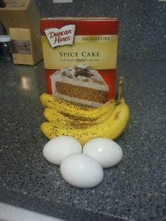 Super good banana bread...mash bananas mix with eggs and spice cake.  Pour in 2 lightly greased pans. Cook for 30 minutes at 350.  You will love it.