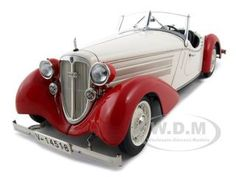 1935 Audi Front 225 Roadster Diecast Car Model 1/18 White/red Die Cast Car 1 Of 4000 Made By Cmc