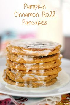 Pumpkin Cinnamon Roll Pancakes. Perfect for those crisp fall mornings!