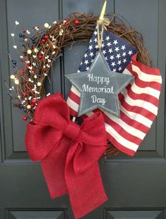 Memorial Day Wreath Patriotic Burlap Wreath by ChalkitupDecor.  Or use for July 4th Independence Day.