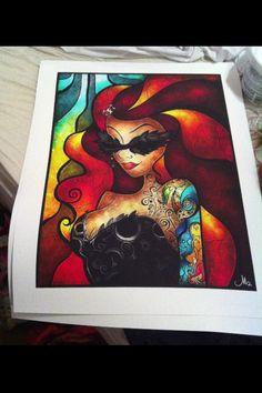 Lips Like Morphine - Digital Art Watercolor Print - Tattooed Disney Princess The Little Mermaid Ariel - REDHEAD. $150.00, via Etsy.