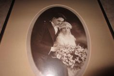 Vintage Wedding Picture Framed Bride Groom 8x10 Black/White 1930s-1940s  ~ Awesome Wedding Photo  Please RePinit and Thanks!  Have a GREAT Day.