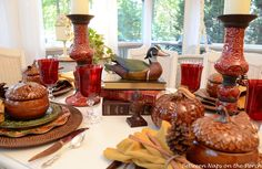 A Fall Table Setting on the Porch