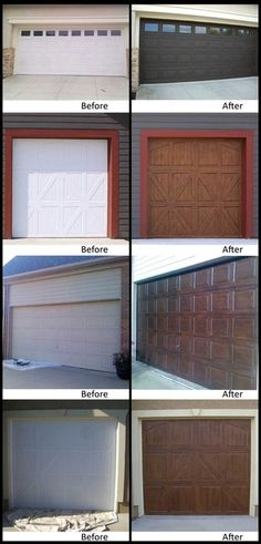 faux wood painting on garage doorrs