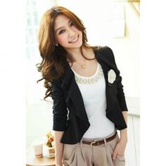 $7.31 Women's Stretch-Cotton Chiffon Jacket With Long Sleeves Flounce Design