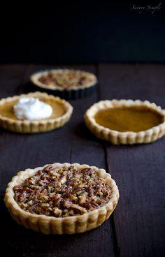 Thanksgiving Pie Tarts - Individual pumpkin pie, pecan pie and sweet potato pie tarts