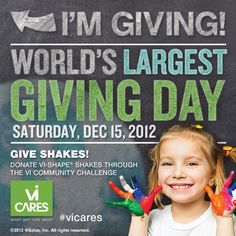 There is no act too large or too small – the good works of a few can touch the lives of many! Every 'Giving Moment' shakes up the world for the better!    'SHARE' if you'll be Giving with us!    Details here:http://visal.us/VXeVLU