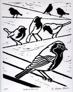 bird printmak, lino cuts, linocut print, cut bird, block print, lino print, tattoo, chatter, walk