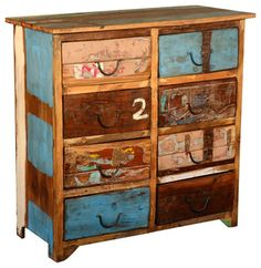 Distressed Rustic Reclaimed Wood 8 Drawer Double Dresser Chest