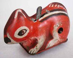 "Vintage Tin Toy Wind Up Squirrel 3-1/2"" Train Car."
