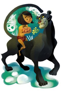 I LOVE the style of this Mowgli and Bagheera piece.