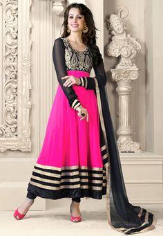Dark #Pink and Black Faux #Georgette #Anarkali Churidar Kameez