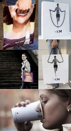 Clever Graphic Design. I really like the idea of the woman on the YKM bag Jumping Rope to the drawstring.