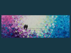 "Original Modern Abstract Heavy Texture Impasto Acrylic Painting Landscape Love Birds Wall Décor ""Whispering VII"""