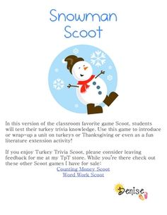 Have some fun with this seasonal version of Scoot! Scoot is faced paced, whole group activity. It can be used as a fun review, practice, assessment...