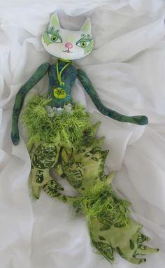 CATFISH soft sculpture art doll ooak wall by Kaeriefaerie52, $40.00