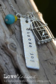 Choose joy metal stamped necklace, long word necklace, charm necklace, Love Squared Designs