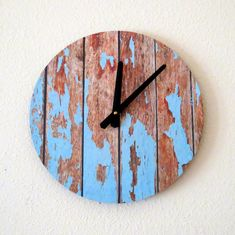 Cottage Chic Wall Clock, Featured In Lucky Magazine, Home Decor, Decor and Housewares, Blue Wood, Home and Living, Reclaimed Decor on Etsy, $50.00