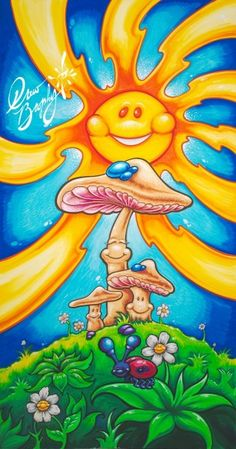 "Drew Brophy. HAPPY MUSHROOMS. 2012. Mixed Media on Wood. 45"" x 24"""