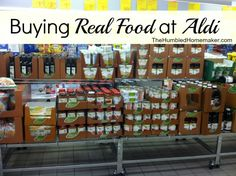 Buying Real Food at Aldi -- a list of the organic foods Aldi carries and other healthy buys available there!