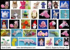 Sock Crafts for kids on Danielle's Place of Crafts and Activities - sock dogs, sock dolls, sock monsters, sock cats, etc. From www.daniellesplace.com