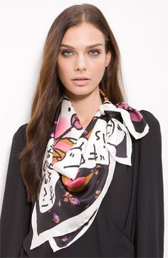 Betsey Johnson silk scarf. I've never tied one this way.