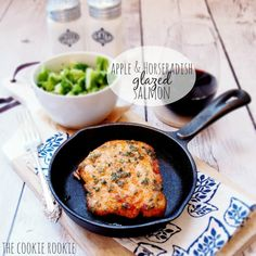 Apple & Horseradish Glazed Salmon. So healthy and so delicious! {The Cookie Rookie}