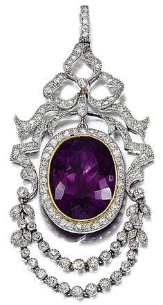 Amethyst And Rose-Cut Diamond Pendant  c.1910