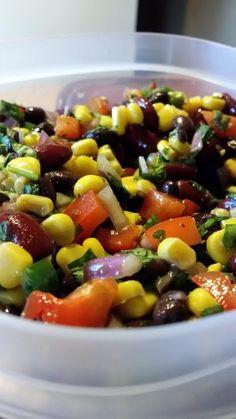 Black Bean Salad #recipe with corn, bell pepper, jalapeno, onion, brown sugar, dijon
