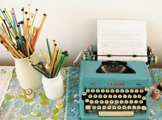 write a book books, knitting needles, blue, offic, vintage typewriters, write a book, creative writing, desk, writing nook