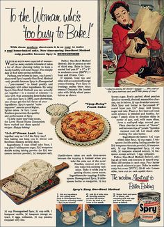 To the woman who's too busy to bake. #vintage #1950s #food #ads