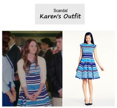 "On the blog: Karen Grant's (Madeline Carroll) blue striped fit and flare dress | Scandal - ""The Price of Free and Fair Election"" (Ep. 318)  #tvstyle #tvfashion #outfits #fashion #FirstKids #ScandalFinale"