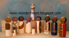 Handmade #Christmas Nativity wooden peg doll set of different people from different continents and their dress by Honey of Mondorfment.com