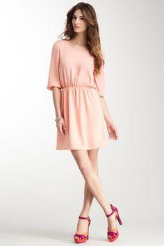 3/4 Sleeve Back Cutout Dress