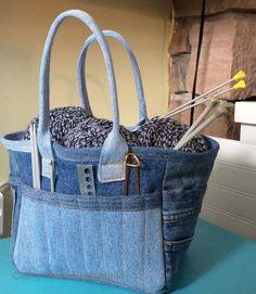 denim jeans, recycl jean, blue jean, knitting bags