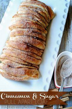 Cinnamon & Sugar Pull Apart Loaf that starts from frozen bread rolls.