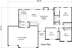 First Floor Plan of Ranch   House Plan 49076