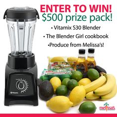 Head over to our Facebook NOW and enter to win this amazing prize pack!  @Vitamix S30 + @The Blender Girl cookbook + Melissa's Produce ingredient box