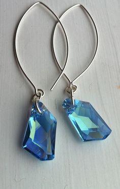 On Sale Aquamarine Crystal Earrings, Long Swarovski Crystal Earrings
