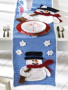 $4.50~Frosty Fellows Table Runner Crochet Pattern Snowman New | eBay