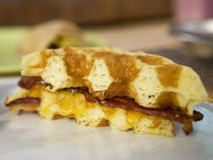 Cheddar and Bacon Cornmeal Waffle Sandwiches with Maple Mustard -- breakfast on the go.